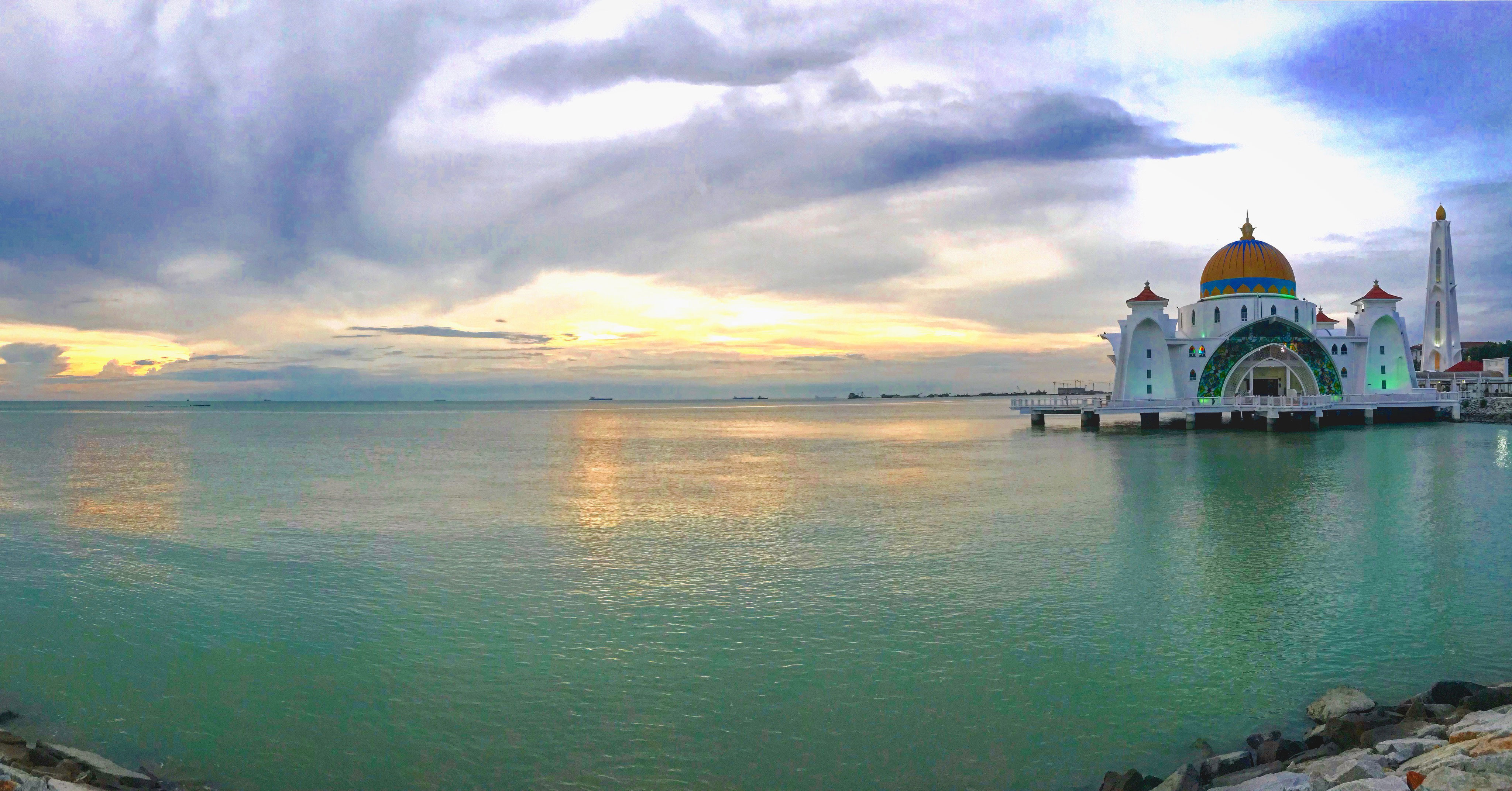 Malacca floating mosque at sunset,panaroma
