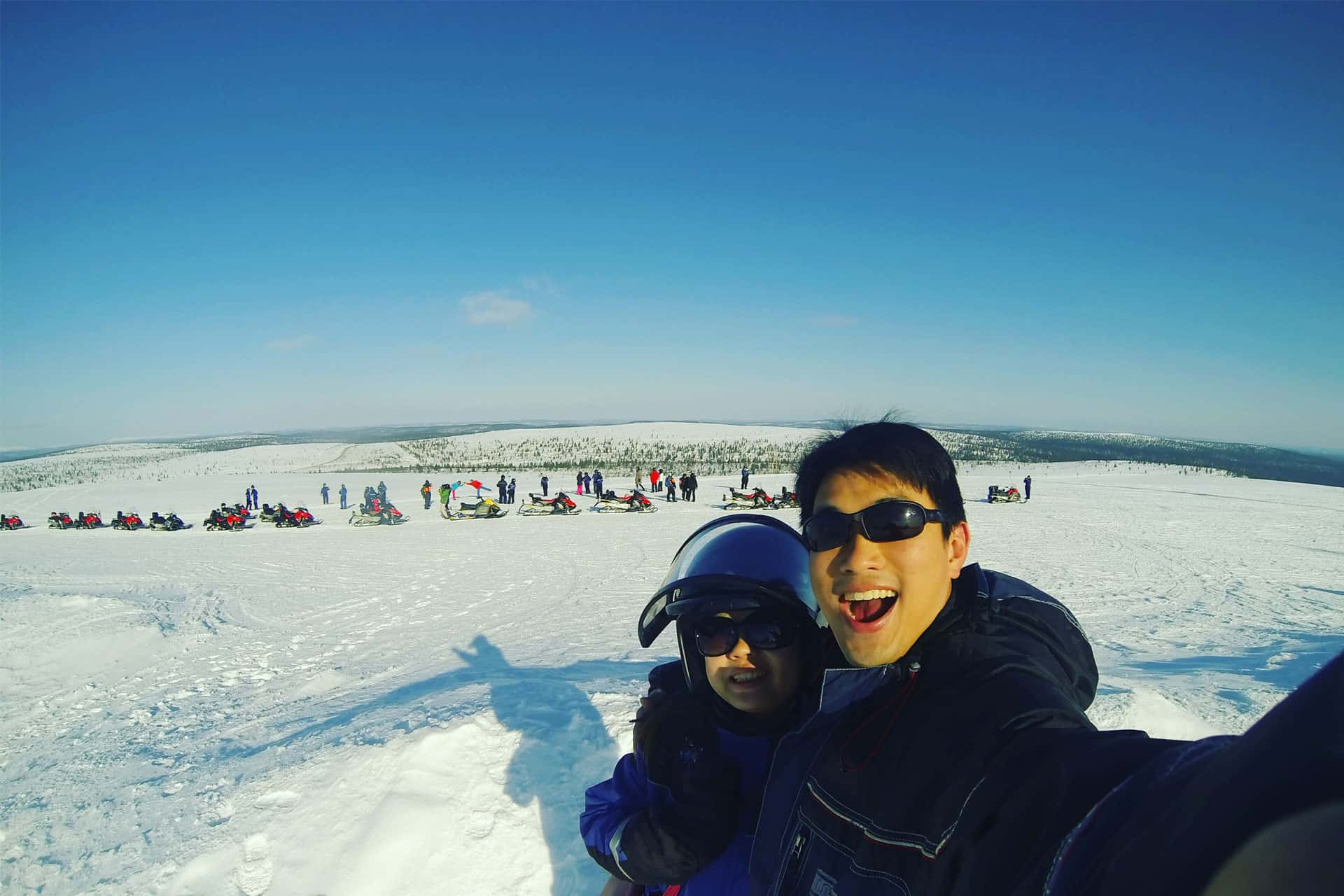 We Snowmobiled up to the top of the hill for a panoramic view!