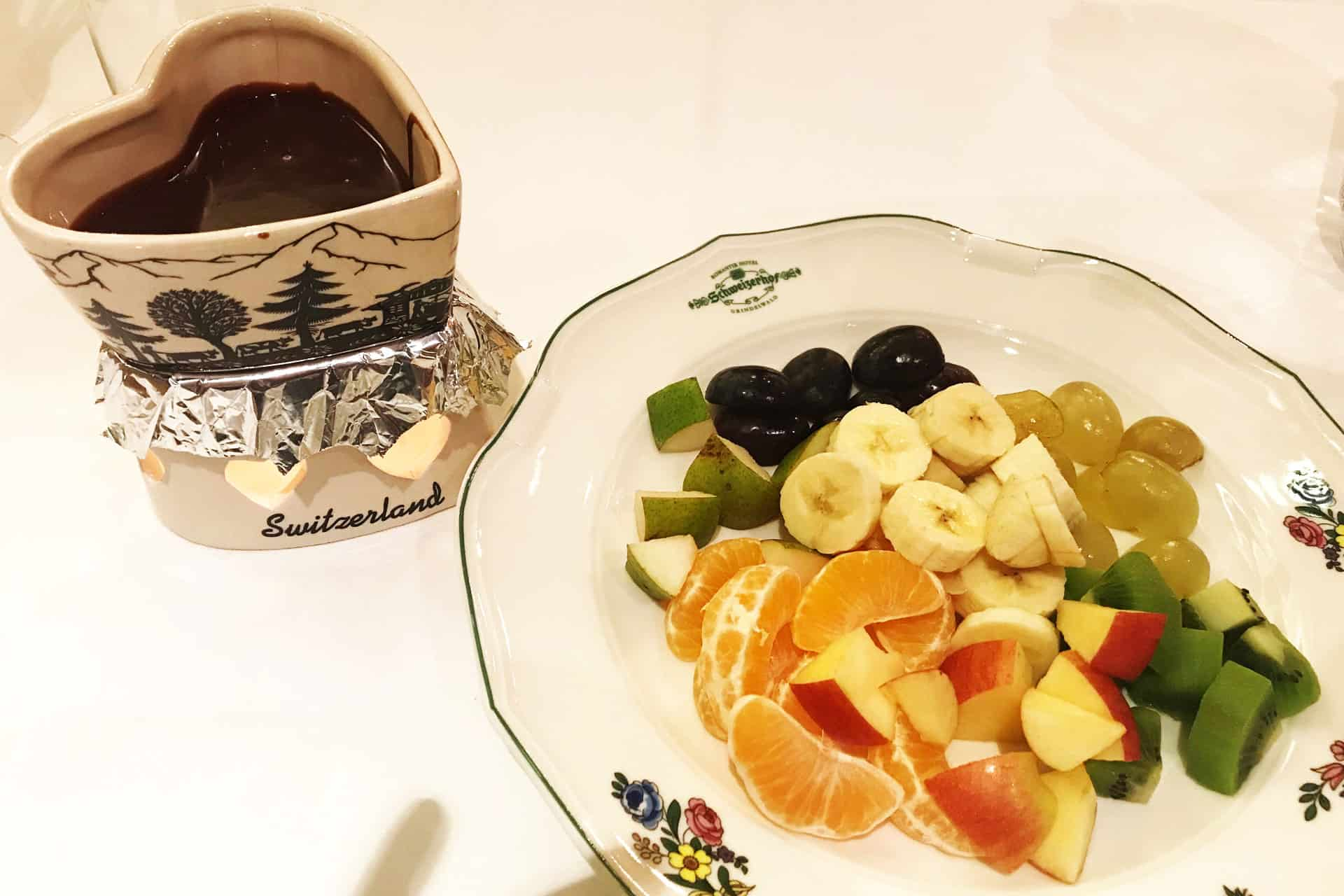 Chocolate Fondue with a lovely heart shape Pot.To up the romance level!