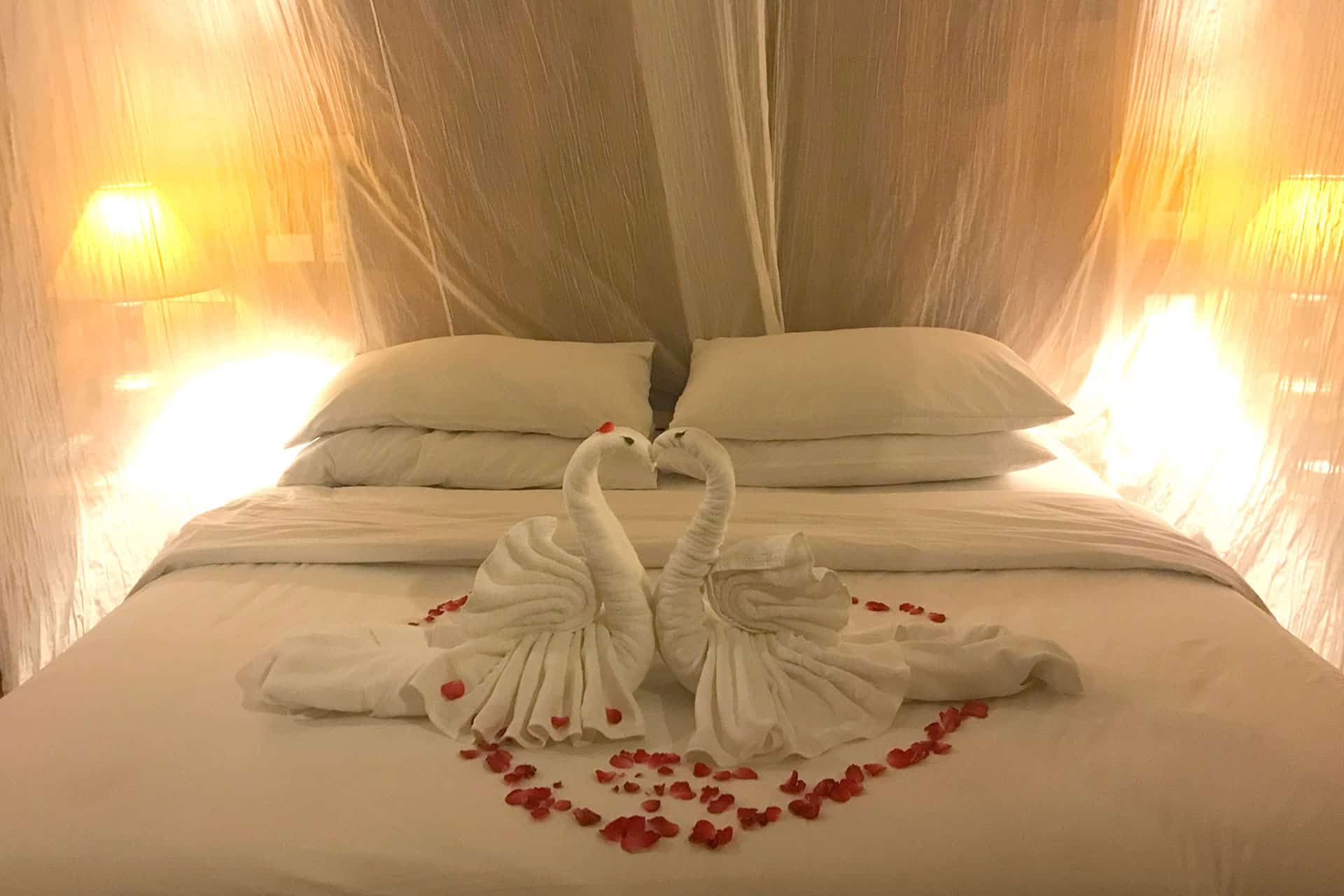 Lovely Bed Decoration by the hotel