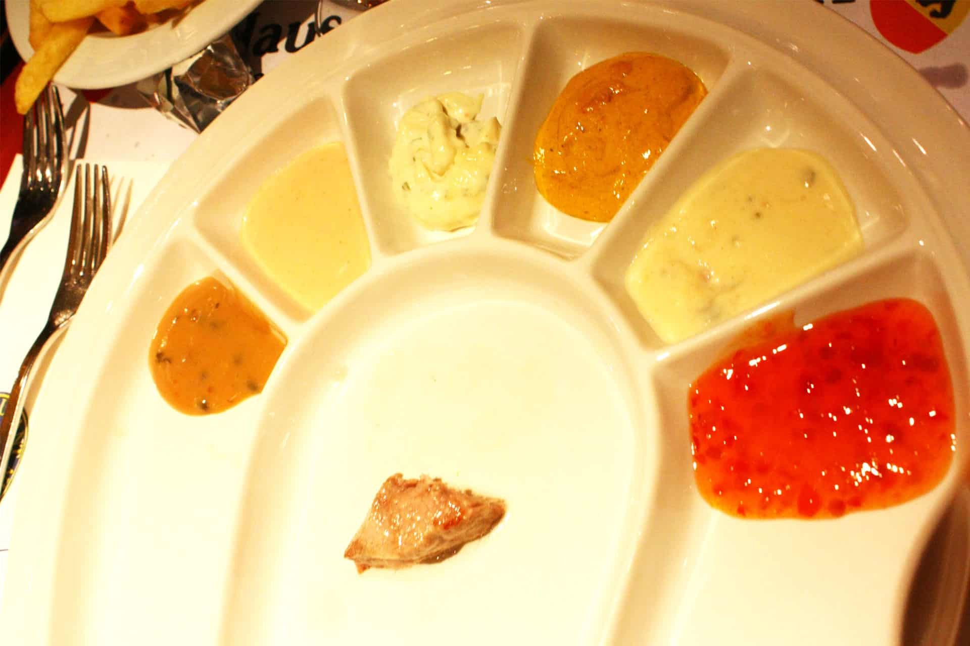 Different Sauces for you to dip your meat for Meat Fondue