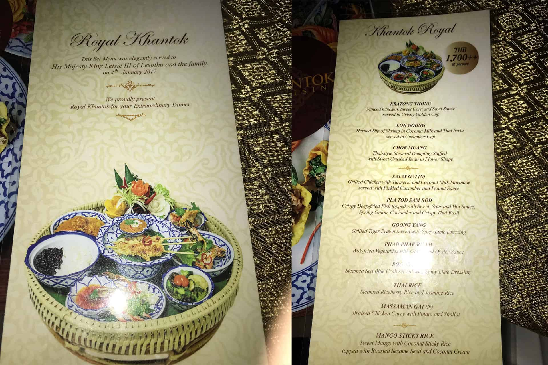 Royal Khantok Menu