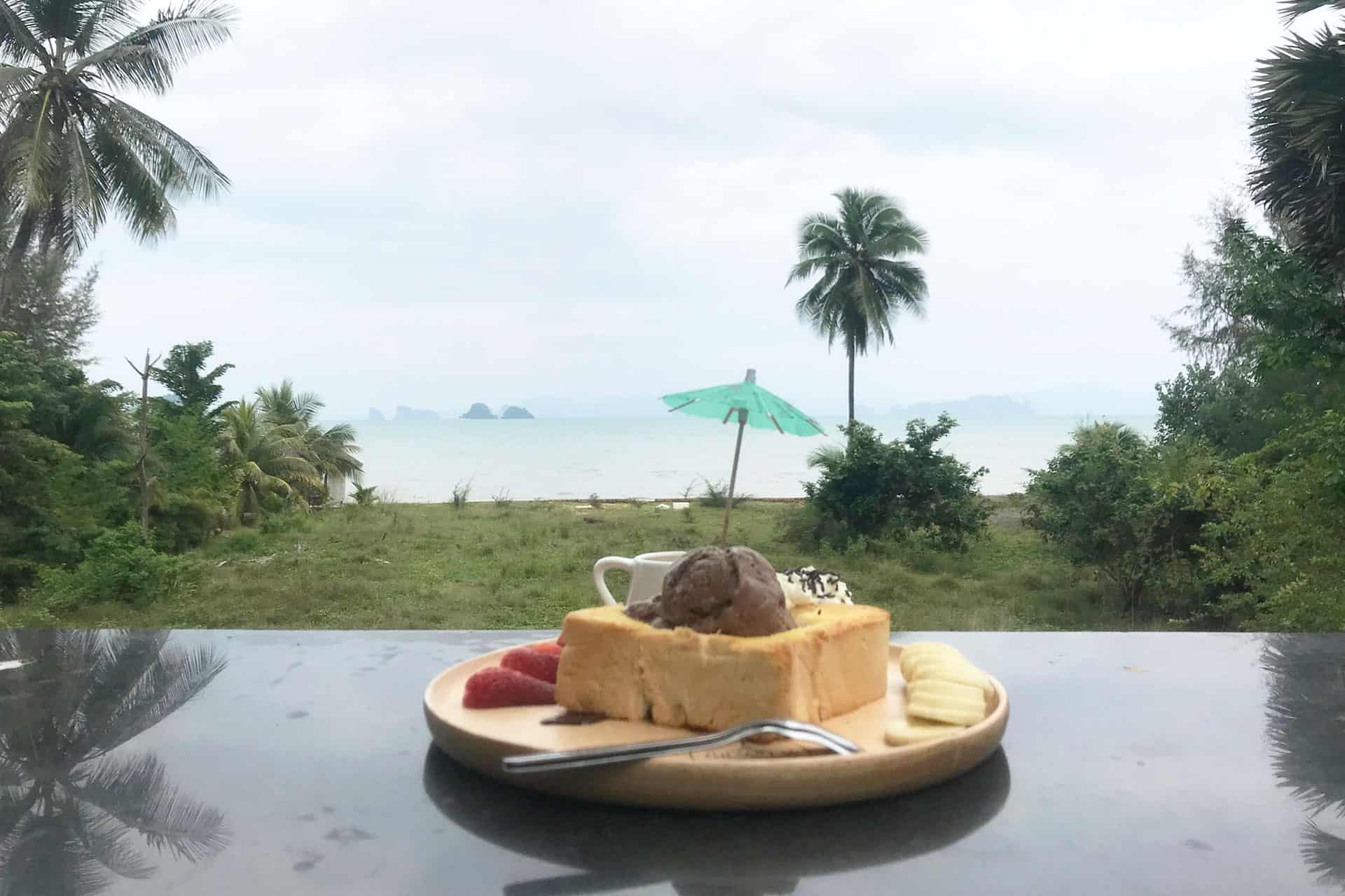 Chada Cafe Ice Cream Toast with sea view!