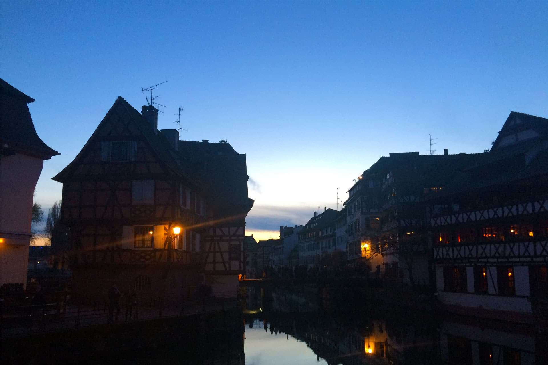 Blue light after sunset of petite France