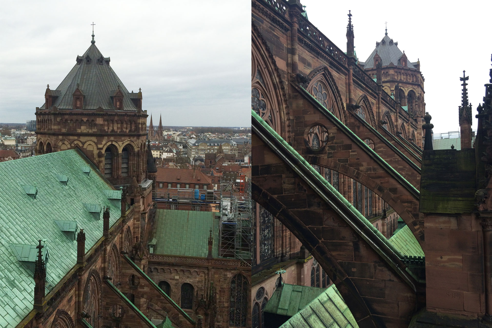 Marvel at the Flying Buttresses of the church while climbing up to the platform