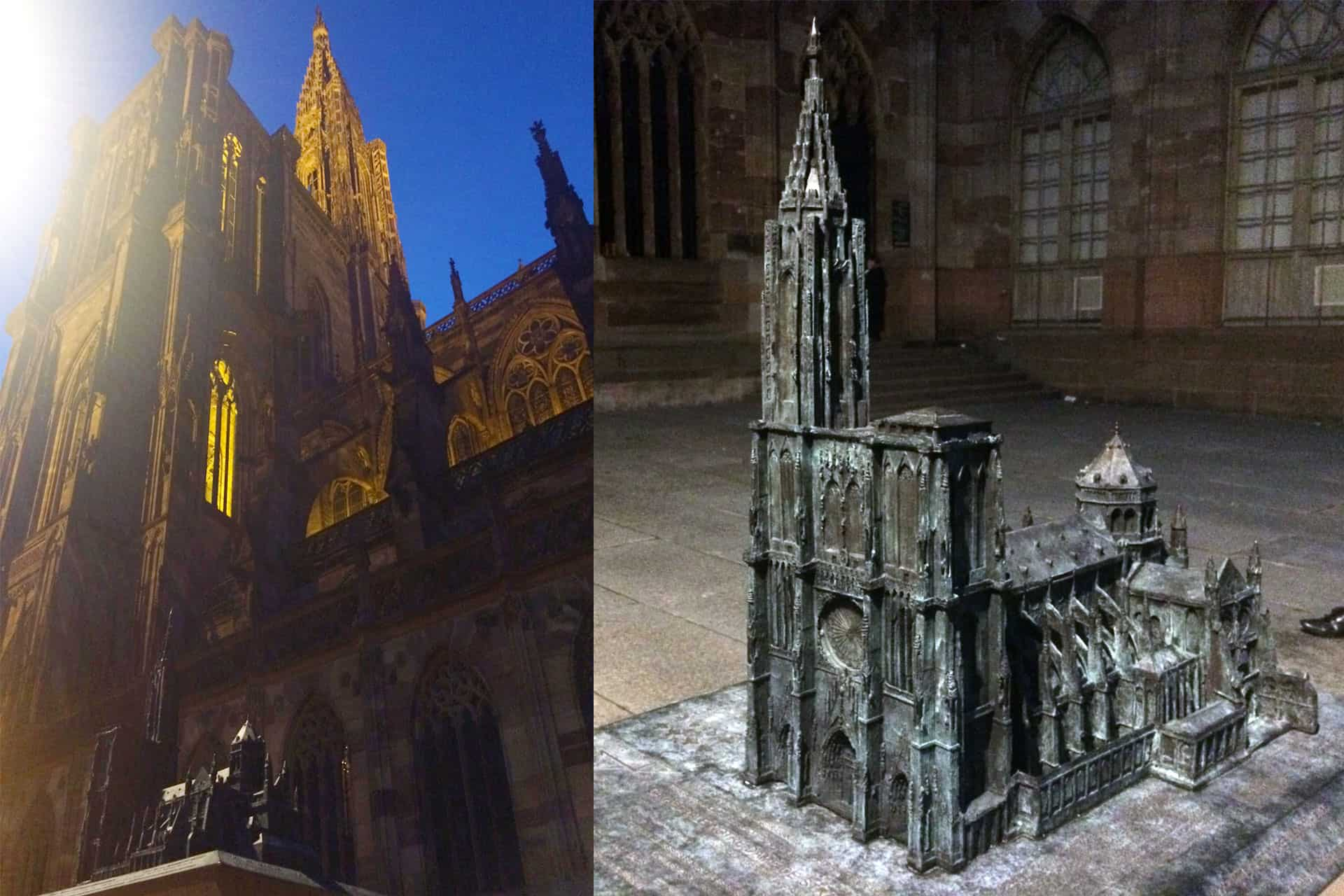 Notre Dame Bronze model against the Real one.